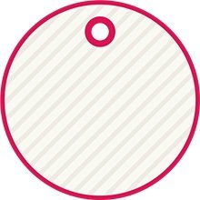 Pink and white rounded tag